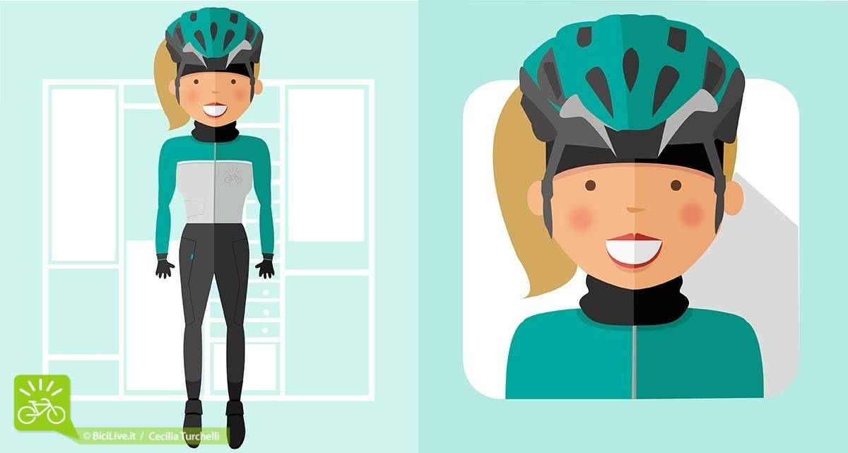 Illustrazione donna ciclista con casco e abbigliamento invernale