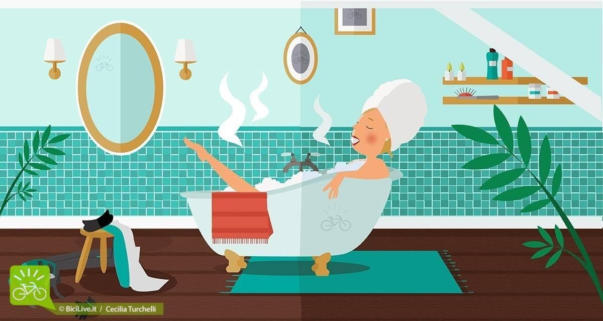 ragazza che fa un bagno caldo
