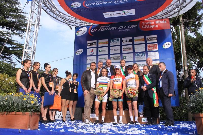 Il podio del 17 Trofeo Binda // Foto Ossola