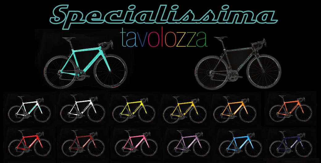 """La foto mostra la """"tavolozza"""" dei colori personalizzabili della Specialissima 2016 Bianchi."""