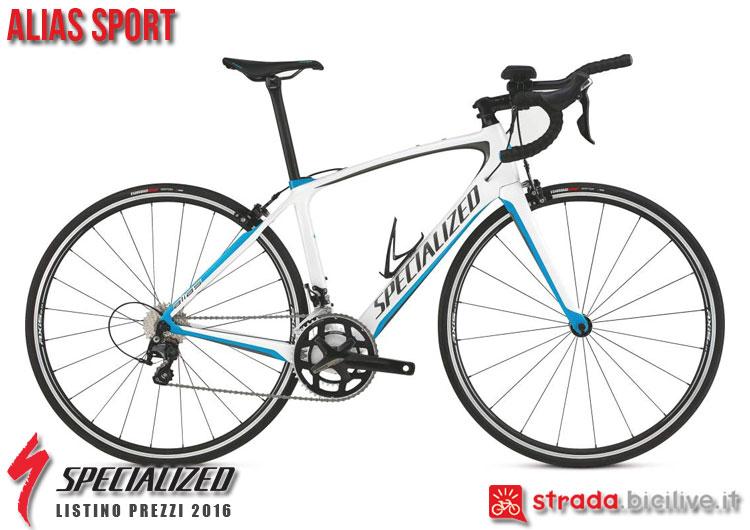 La foto della bici da strada Alias Sport Specialized sul catalogo e listino prezzi 2016