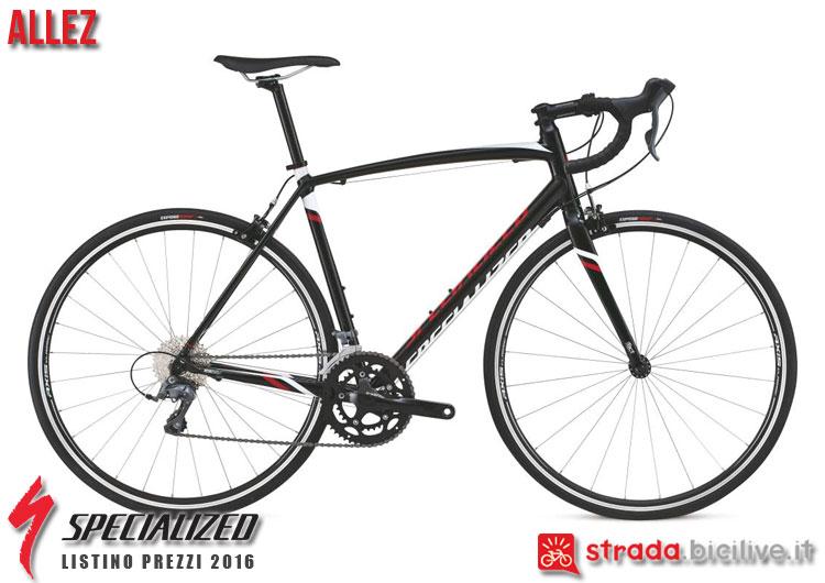 La foto della bici da strada Allez Specialized sul catalogo e listino prezzi 2016