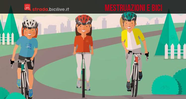 tre donne pedalano seguendo i consigli mestruazioni e bici