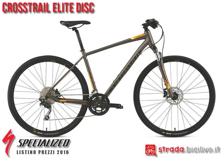 La foto della bici da strada CrossTrail Elite Disc Specialized sul catalogo e listino prezzi 2016