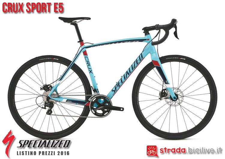 La foto della bici da strada CruX Sport E5 Specialized sul catalogo e listino prezzi 2016