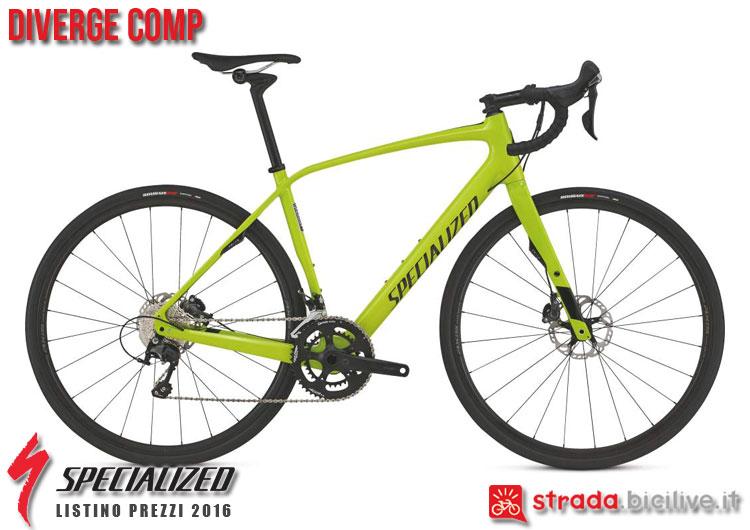 La foto della bici da strada Diverge Comp Specialized sul catalogo e listino prezzi 2016