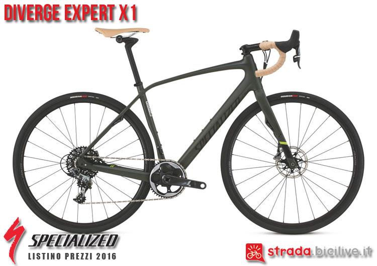 La foto della bici da strada Diverge Expert X1 Specialized sul catalogo e listino prezzi 2016