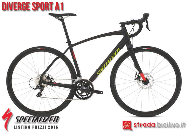 La foto della bici da strada Diverge Sport A1 Specialized sul catalogo e listino prezzi 2016