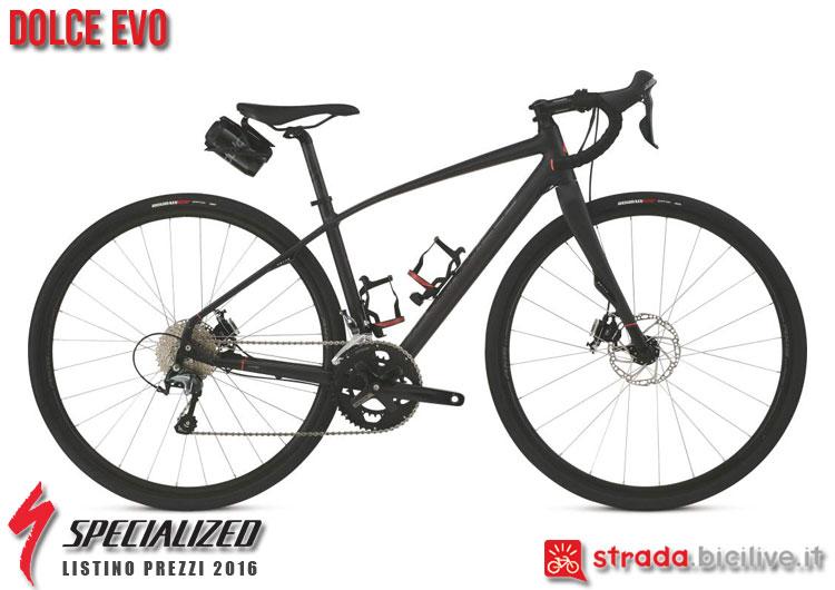 La foto della bici da strada Dolce EVO Specialized sul catalogo e listino prezzi 2016