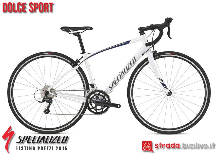 La foto della bici da strada Dolce Sport Specialized sul catalogo e listino prezzi 2016