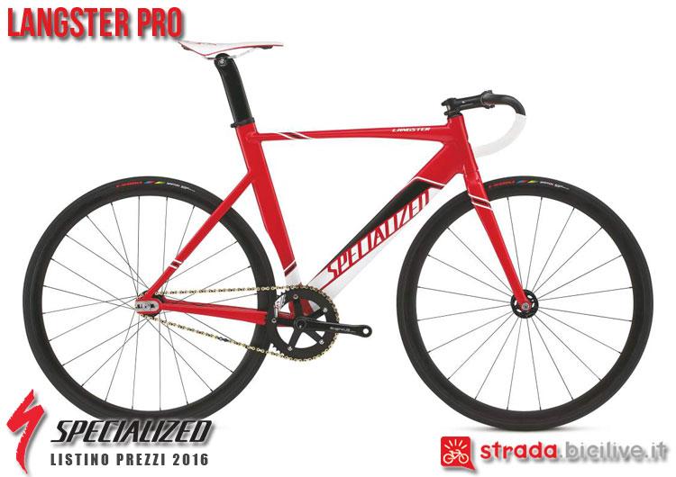La foto della bici da strada Langster Pro Specialized sul catalogo e listino prezzi 2016
