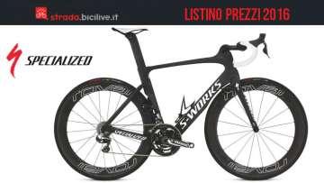 Immagine promozionale per il catalogo e il listino prezzi 2016 Specialized per le bici da strada