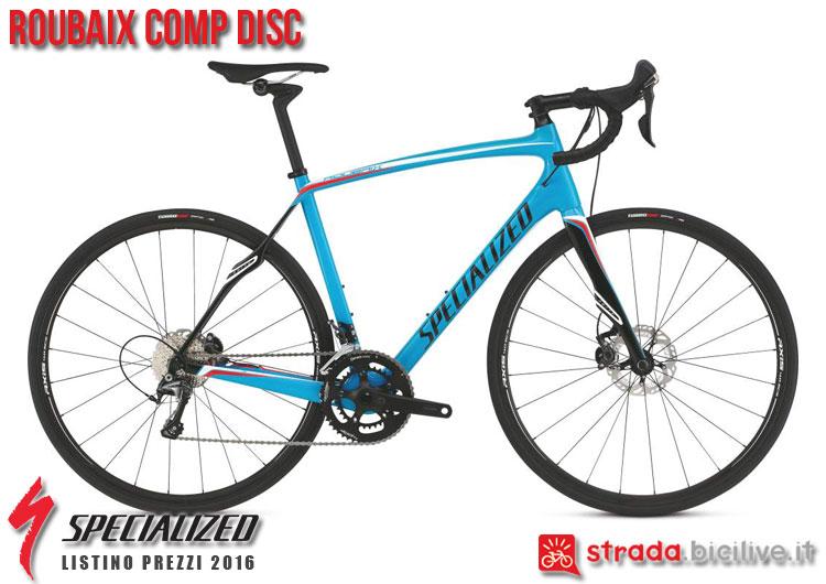 La foto della bici da strada Roubaix Comp Disc Specialized sul catalogo e listino prezzi 2016