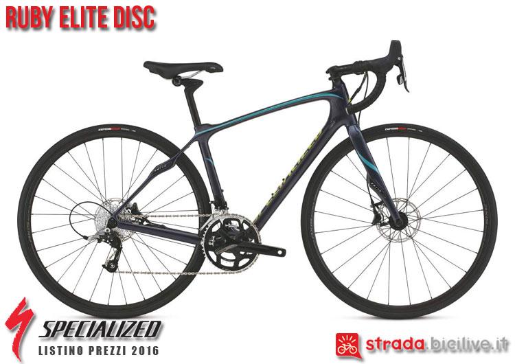 La foto della bici da strada Ruby Elite Disc Specialized sul catalogo e listino prezzi 2016