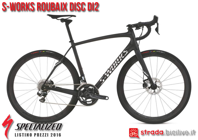 La foto della bici da strada S-Works Roubaix Disc Di2 Specialized sul catalogo e listino prezzi 2016