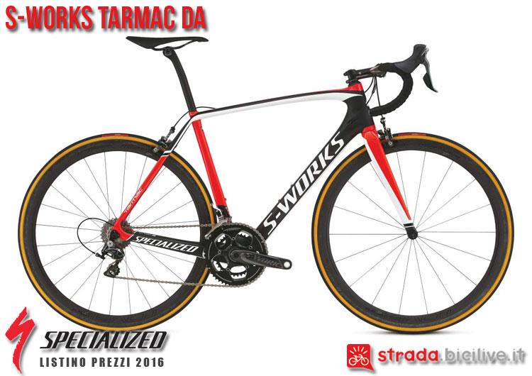 La foto della bici da strada S-Works Tarmac DA Specialized sul catalogo e listino prezzi 2016