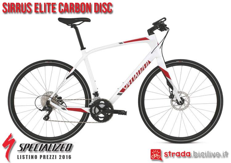 La foto della bici da strada Sirrus Elite Carbon Disc Specialized sul catalogo e listino prezzi 2016