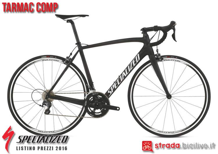 La foto della bici da strada Tarmac Comp Specialized sul catalogo e listino prezzi 2016