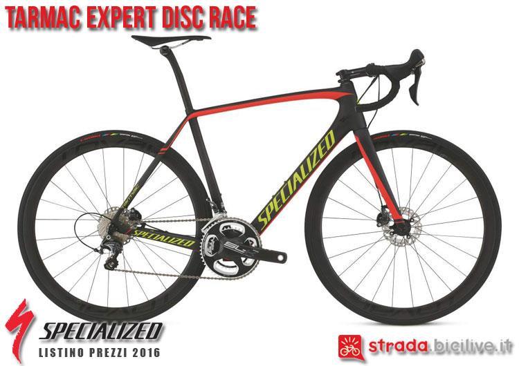La foto della bici da strada Tarmac Expert Disc Race Specialized sul catalogo e listino prezzi 2016