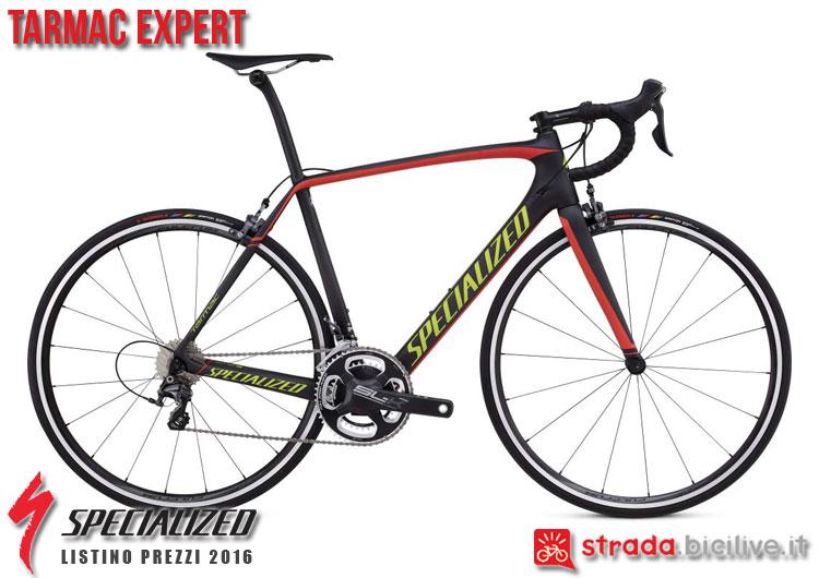 La foto della bici da strada Tarmac Expert Specialized sul catalogo e listino prezzi 2016