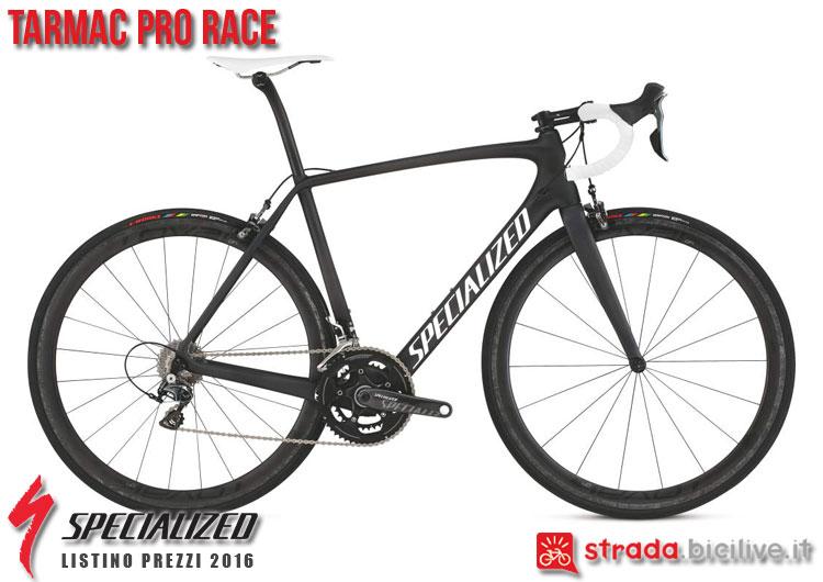 La foto della bici da strada Tarmac Pro Race Specialized sul catalogo e listino prezzi 2016