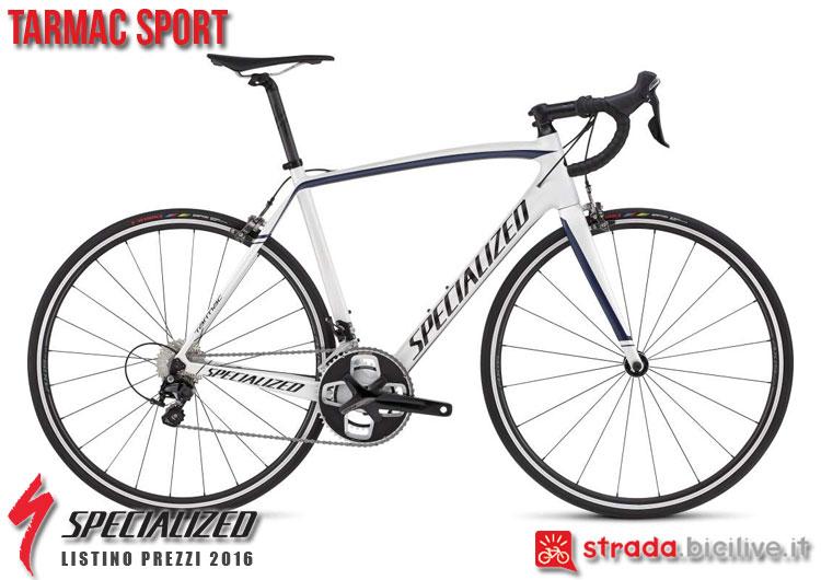 La foto della bici da strada Tarmac Sport Specialized sul catalogo e listino prezzi 2016