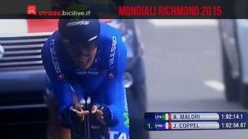 Adriano Malori conquista la medaglia d'argento ai Mondiali di ciclismo a Richmond 2015
