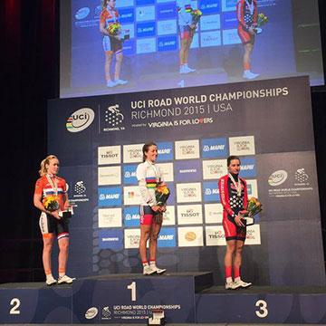 Il podio femminile ai mondiali di ciclismo a Richmond 2015