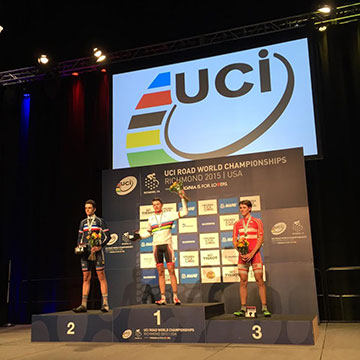Il podio maschile juniors ai mondiali di ciclismo a Richmond 2015