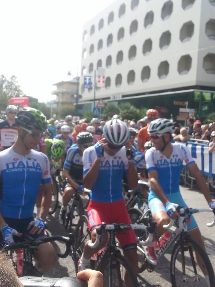 Gli azzurri Visconti, G. Caruso e Nibali al Memorial Pantani 2014 (facebook)