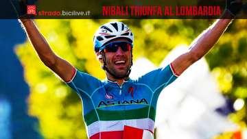 Vincenzo Nibali esulta durante la conclusione del giro di Lombardia