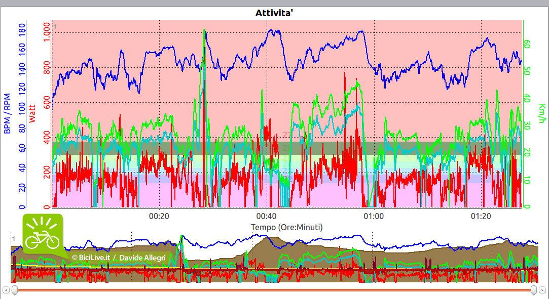 La linea blu evidenzia la frequenza cardiaca