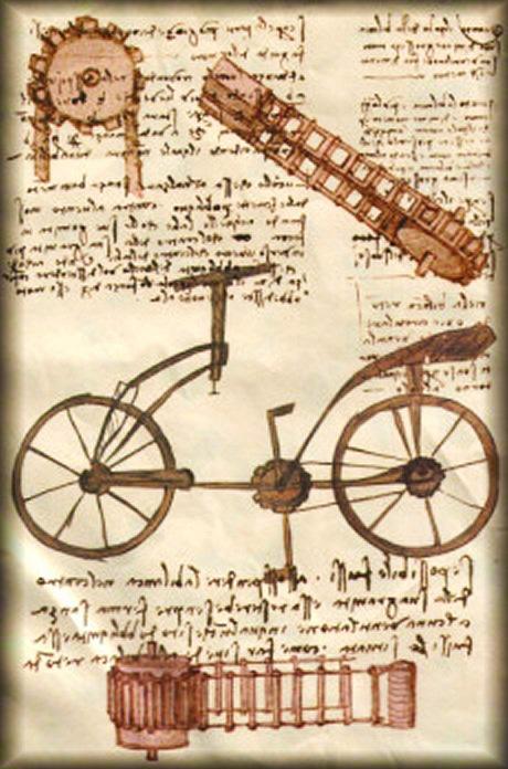 foto di un disegno di Leonardo da Vinci con bicicletta