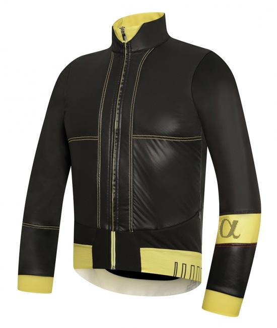 Vista frontale della Alpha Jacket nella versione nero/giallo
