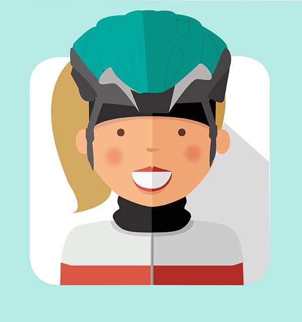Figura di donna in primo piano vestita da ciclista