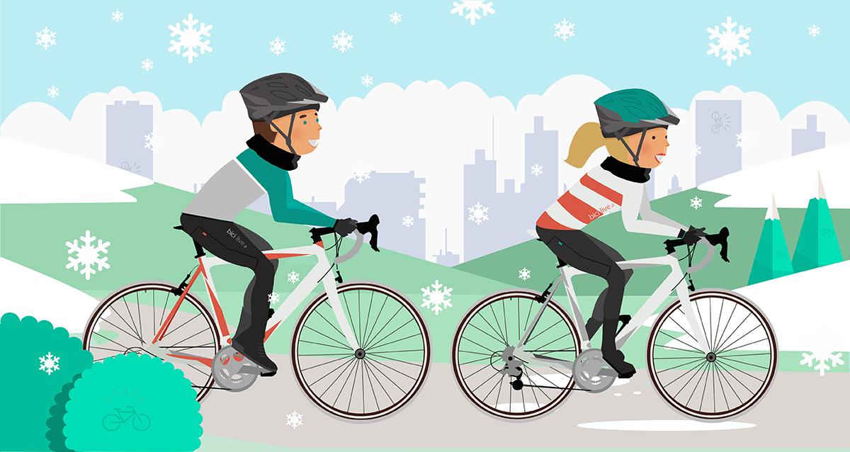 Illustrazione di un uomo e una donna  in bici d'inverno
