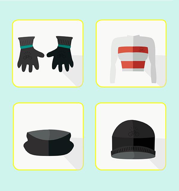 illustrazione di guanti, giacca da bici invernale, scaldacollo, berretto