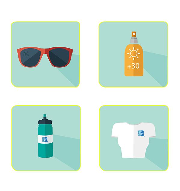 quattro cose per pedalare in estate: occhiali da sole, protezione solare, borraccia, intimo traspirante