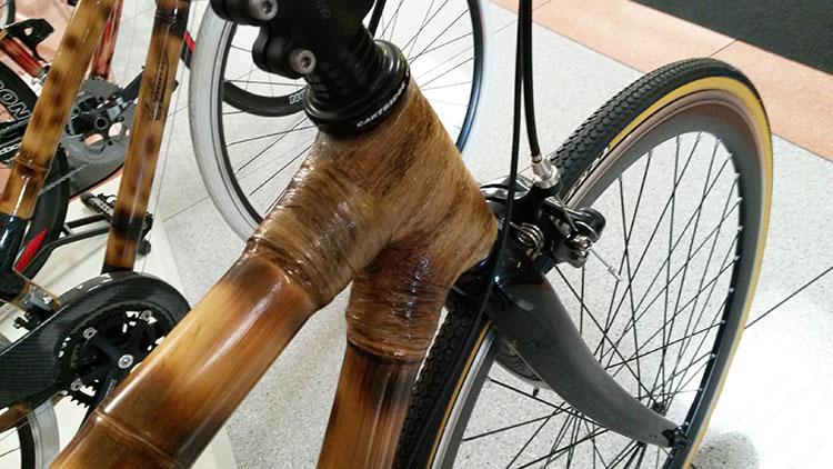 Un dettaglio del telaio di una bici in bambù. Photo Credits: Museo dei Campionissimi.