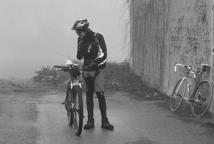 Foto di partecipante alla Lodi-Lecco-Lodi in mezzo alla nebbia