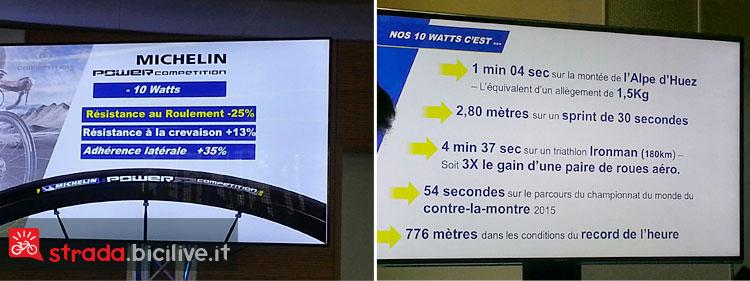 Foto della tabella su alcuni dati tecnici delle nuove gomme bici da strada Michelin Power Compétition