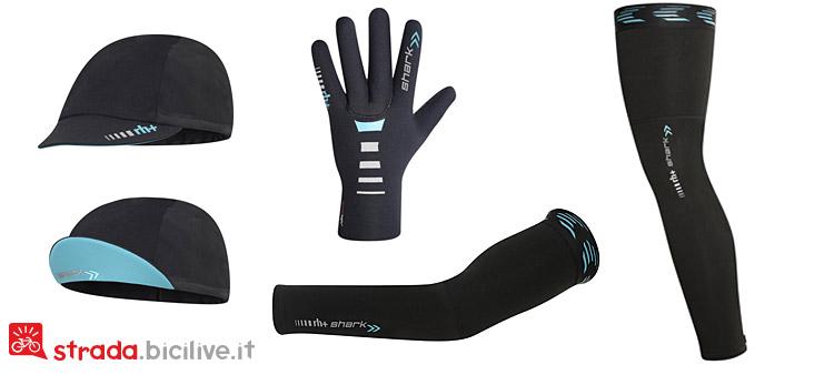 Cappellino, guanti, manicotti e gambali della linea di abbigliamento inverno da ciclismo Shark di rh