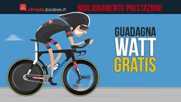 Una guida su come migliorare le performance in bicicletta e guadagnare watt gratis e senza allenamento