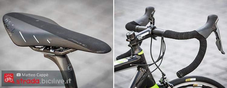 La sella Fizik Airone e il manubrio della bicicletta da corsa Cannondale Caad12