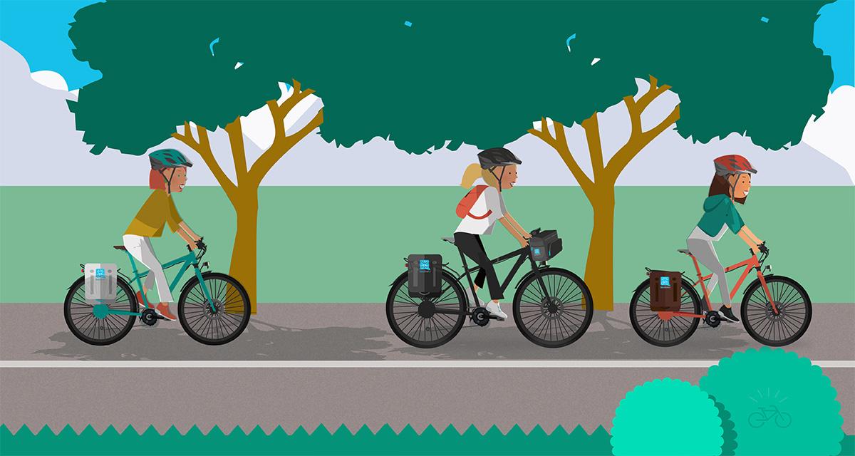 Cercare l'ombra degli alberi per pedalare in estate
