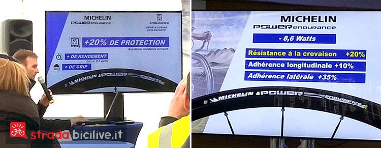 La presentazione degli pneumatici da ciclismo antiforatura nel centro ricerche Michelin