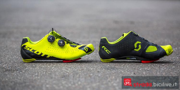 Le scarpe ciclismo strada Scott Road RC nel colore giallo con parte interna nera