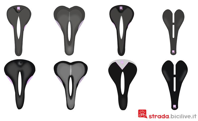Diversi tipologie con forme diverse di selle da bicicletta da donna