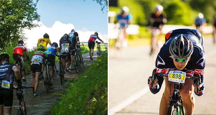 le salite e le discese di una granfondo di ciclismo
