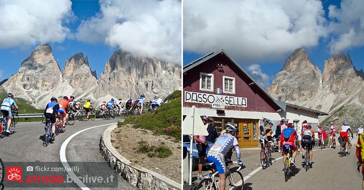 ciclisti affrontano il passo Sella tra Canazei e la Val Gardena
